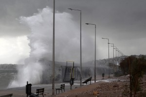 Waves hit beach in southern Athens.